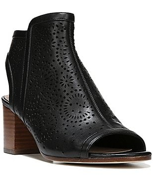 Via Spiga Jorie 2 Perforated Leather Peep Toe Booties