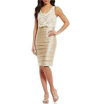 London Times Lace Popover Shimmer Shutter Dress
