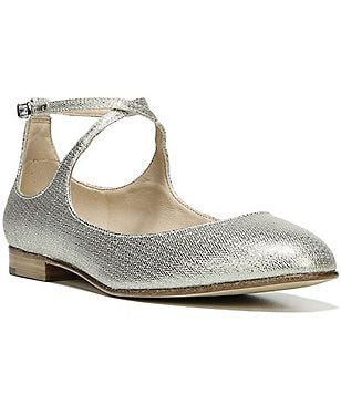 Via Spiga Yovela Criss Crossing Strap Metallic Fabric Flats