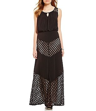 London Times Stretch Blouson Keyhole Maxi Dress