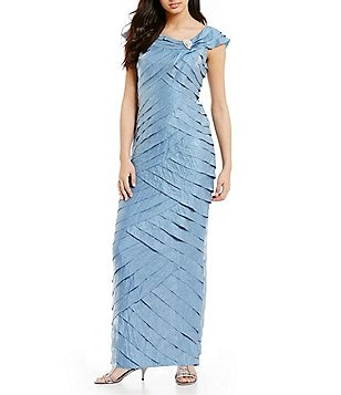 London Times Shimmer Portrait Collar Shutter Gown