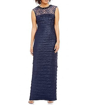 London Times Lace-Yoke Shimmer Shutter Gown