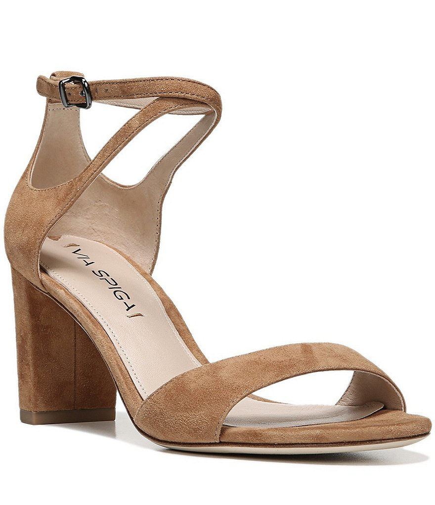 Via Spiga Wendi Ankle Strap Suede Block Heel Dress Sandals