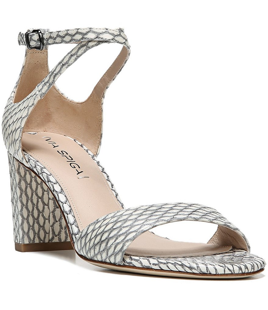 Via Spiga Wendi Ankle Strap Snake Print Block Heel Dress Sandals