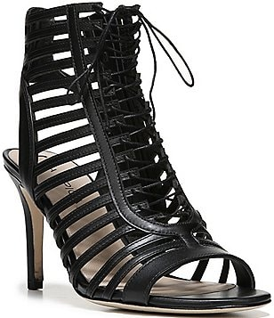 Via Spiga Valena Caged Lace Up Leather Peep Toe Booties