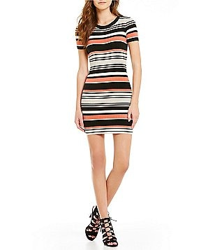 Sanctuary Louey Crew Neck SHort Sleeve Ribbed Knit Bodycon Dress