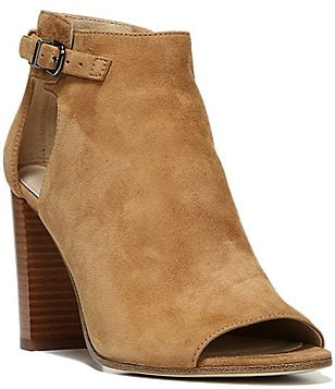 Via Spiga Giuliana Suede Side Buckle and Cutout Block Heel Peep Toe Booties
