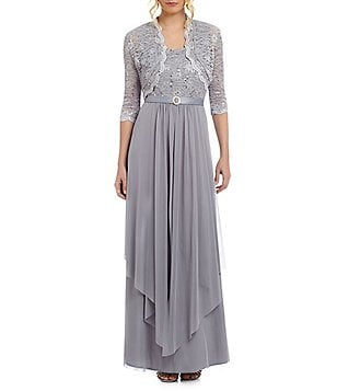 R & M Richards Petite Sequined Lace Chiffon Jacket Dress