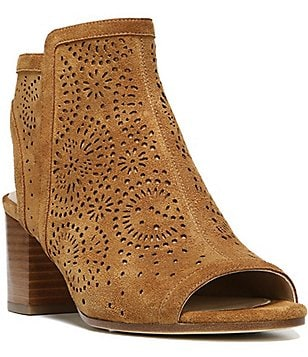Via Spiga Jorie2 Perforated Suede Peep Toe Block Heel Booties