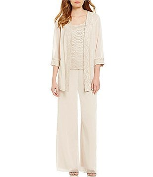 R & M Richards Mock 3-Piece Glitter-Trim Pant Set