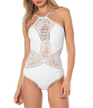 Becca by Rebecca Virtue Prairie Rose Crochet High Neck One-Piece