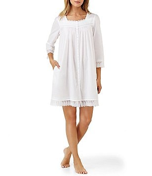 Eileen West Floral-Embroidered Short Lawn Coat Nightgown