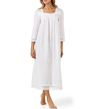 Eileen West Floral-Embroidered Coat Nightgown
