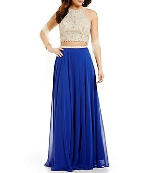 Coya Collection Embroidered Beaded Color Block Two-Piece Long Dress