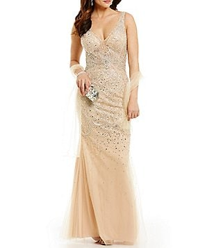 Coya Collection V-Neck Beaded Trumpet Dress