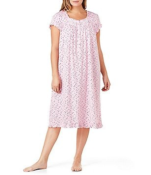 Eileen West Plus Heart-Print Jersey Waltz Nightgown
