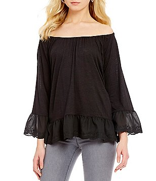 Sanctuary Juliette Off-the-Shoulder 3/4 Bell Sleeve Blouse