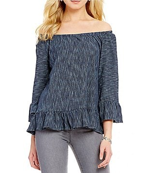 Sanctuary Juliana Off-the-Shoulder 3/4 Sleeve Peplum Striped Top