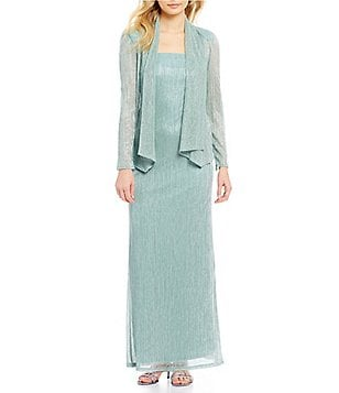 R&M Richards Metallic Knit 2-Piece Jacket Dress