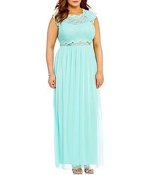 Jodi Kristopher Plus Jeweled Lace Popover-Bodice Long Dress