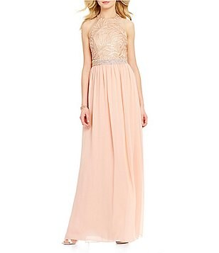 Jodi Kristopher Sequin-Embellished Bodice Long Halter Dress