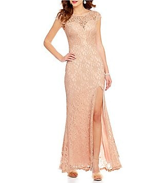 Jodi Kristopher Stone-Embellished Illusion-Yoke Glitter Lace Long Dress