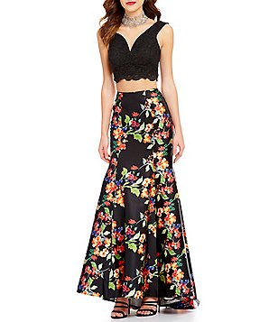 Jodi Kristopher V-Neck Lace Top To Floral Trumpet Skirt Long Two-Piece Dress