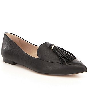Louise et Cie Leather Tassel Detail Slip On Pointed Toe Abriana Flats