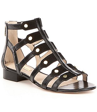 Louise Et Cie Aria Leather Stud Detail Back Zip Caged Gladiator Sandals