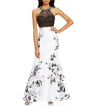 Sequin Hearts Beaded High Neckline Illusion Yoke Lace Top to Floral Trumpet Skirt Long Two-Piece Dress