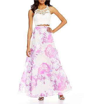 Sequin Hearts Lace to Floral Print Full Skirt Two-Piece Dress