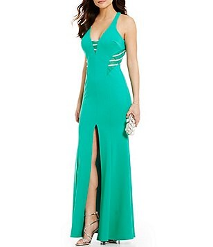 Sequin Hearts Jewel Trim Plunging V-Neck Open-Back Long Dress