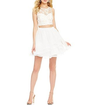 Sequin Hearts Floral Lace Illusion-Neck Top Layered Mesh Skirt Two-Piece Skater Dress
