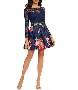 Sequin Hearts Long Sleeve Top to Floral-Print Two-Piece Fit-and-Flare Dress