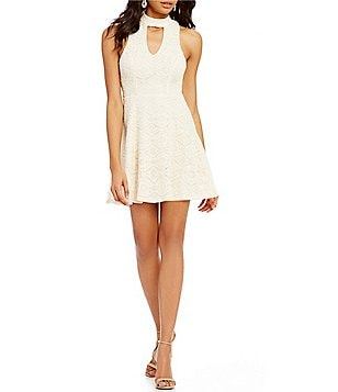 Sequin Hearts Choker Neckline Lace Skater Dress