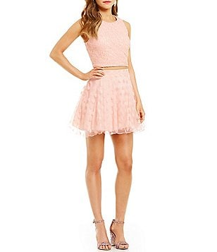Jodi Kristopher Lace to Dotted Organza Two-Piece Dress