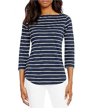 Pendleton Boat Neck Stripe Knit 3/4 Sleeve Tee