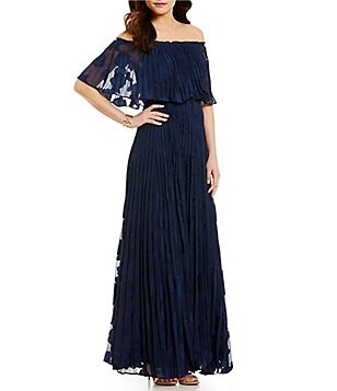 Lucy Paris Off-the-Shoulder Flutter Sleeve Pleated Burnout Maxi Dress