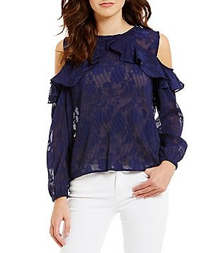 Lucy Paris Ruffle Crew Neck Long Sleeve Cold-Shoulder Blouse