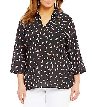 Investments Plus 3/4 Sleeve V-Neck Top