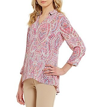 Investments Petites 3/4 Sleeve V-Neck Collar Top