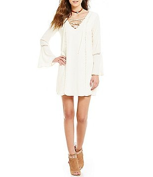 Jodi Kristopher Crocheted-Inset Trim Bell-Sleeve Shift Dress