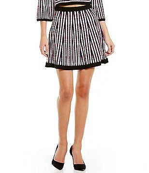 Lucy Paris Stripe Knit Fit-and-Flare Mini Skirt