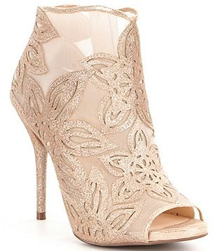 Jessica Simpson Bliths Peep Toe Glitter Flower Detail Mesh Ankle Boots