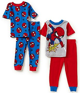 AME Spiderman Little Boys 2T-4T Spiderman-Printed Top & Pants 4-Piece Pajama Set
