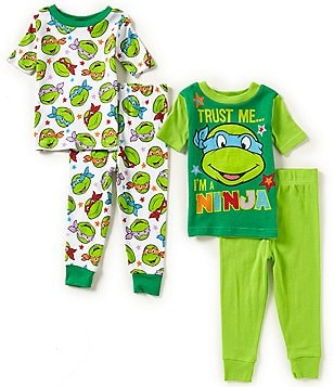 AME Ninja Turtles Little Boys 2T-4T Trust Me I'm a Ninja Printed 4-Piece Pajama Set