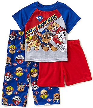 AME Paw Patrol Little Boys 2T-4T Shirt, Solid Shorts, Printed Pants 3-piece Pajama Set