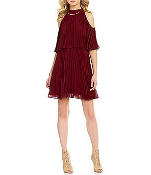 Lucy Paris Short Sleeve Cold-Shoulder Pleated Fit & Flare Chiffon Dress