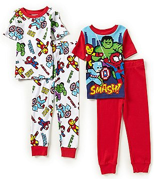 AME Superheroes Avengers Little/Big Boys 4-10 Hero-Printed Top & Pants 4-Piece Pajama Set
