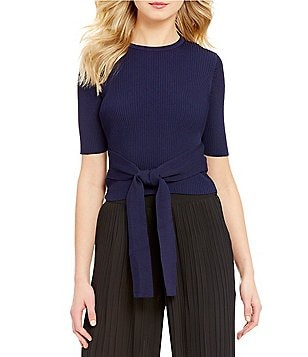 Lucy Paris Regan Tie-Front Elbow-Sleeve Crop Top